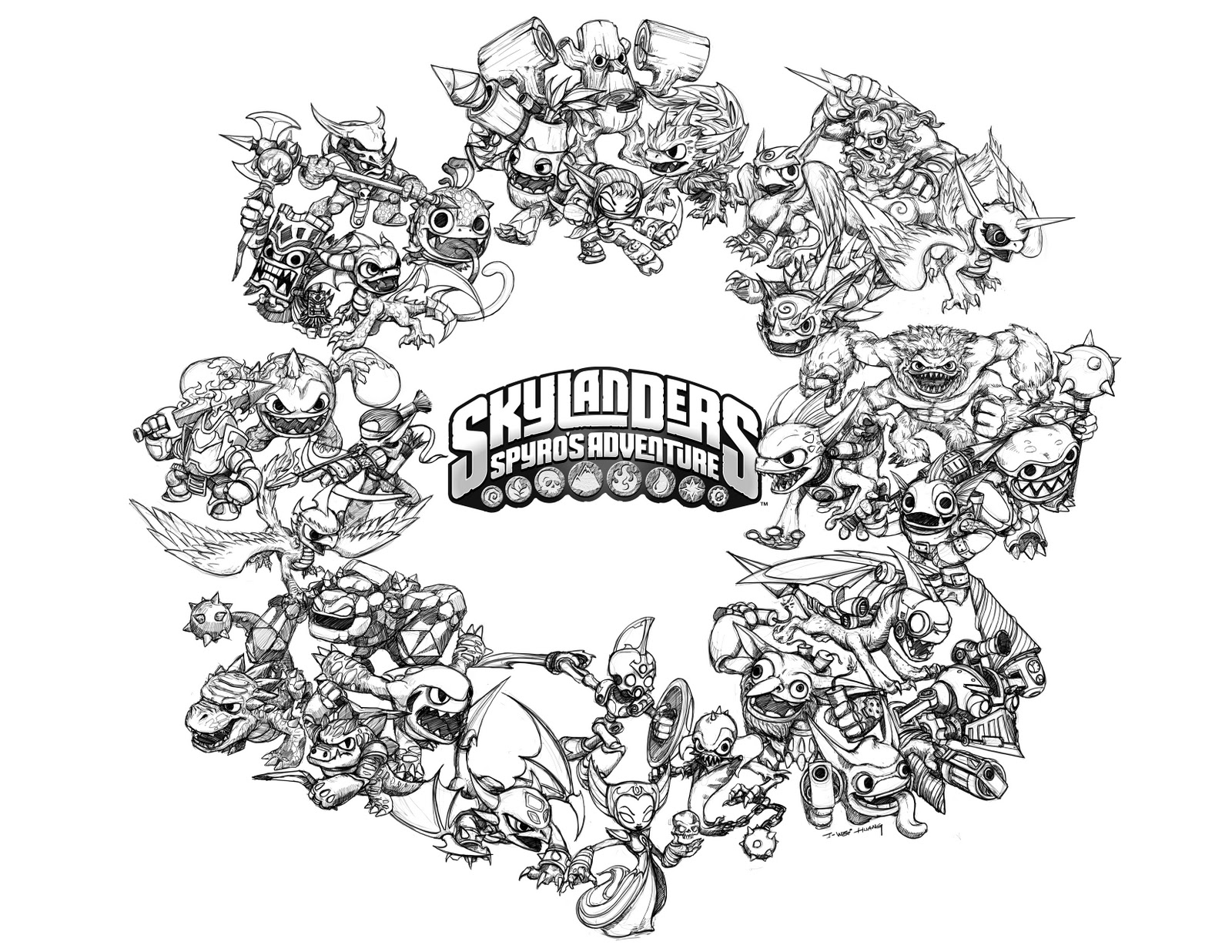 Skylanders Colouring Pages A4 Life Element